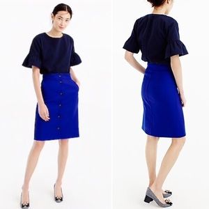 J. Crew Button Front Double Serge Wool Skirt Blue
